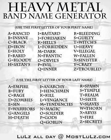 Heavy Metal Band Name Generator LuLz