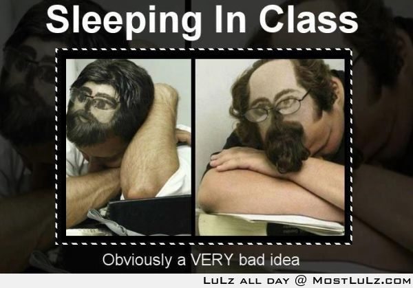 Howto get away with sleeping in class. This is dedication LuLz